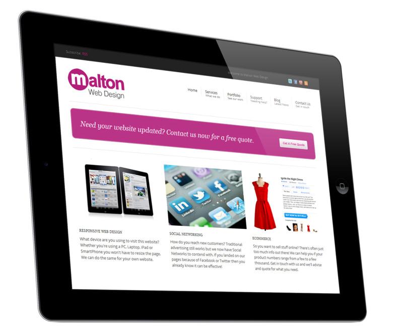 Malton Web Design Website - iPad View