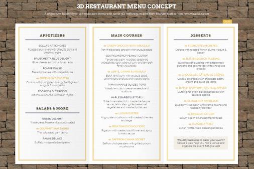 Responsive malton restaurant menu web design